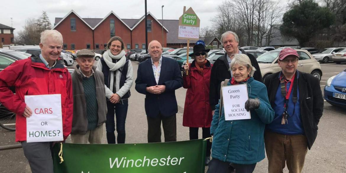 Keith Taylor MEP with Winchester Greens backing the party's social housing campaign