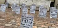 Tombstones in Portsmouth mark the number of residents in the city whose deaths are linked with air pollution